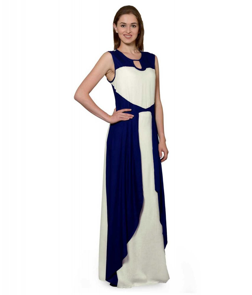 Color Block Maxi Dress or Gown  in Royal Blue:Off-White