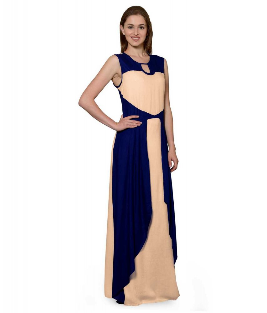 Color Block Maxi Dress or Gown  in Royal Blue:Peach