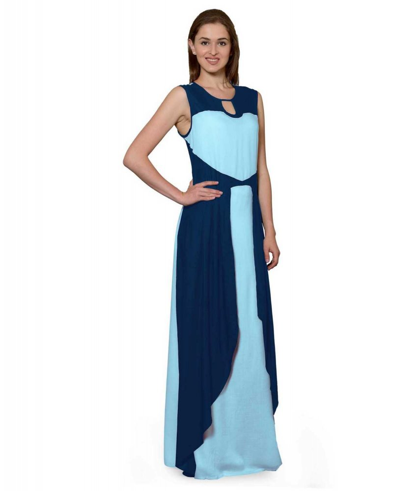 Color Block Maxi Dress or Gown  in Sky Blue:Light Blue