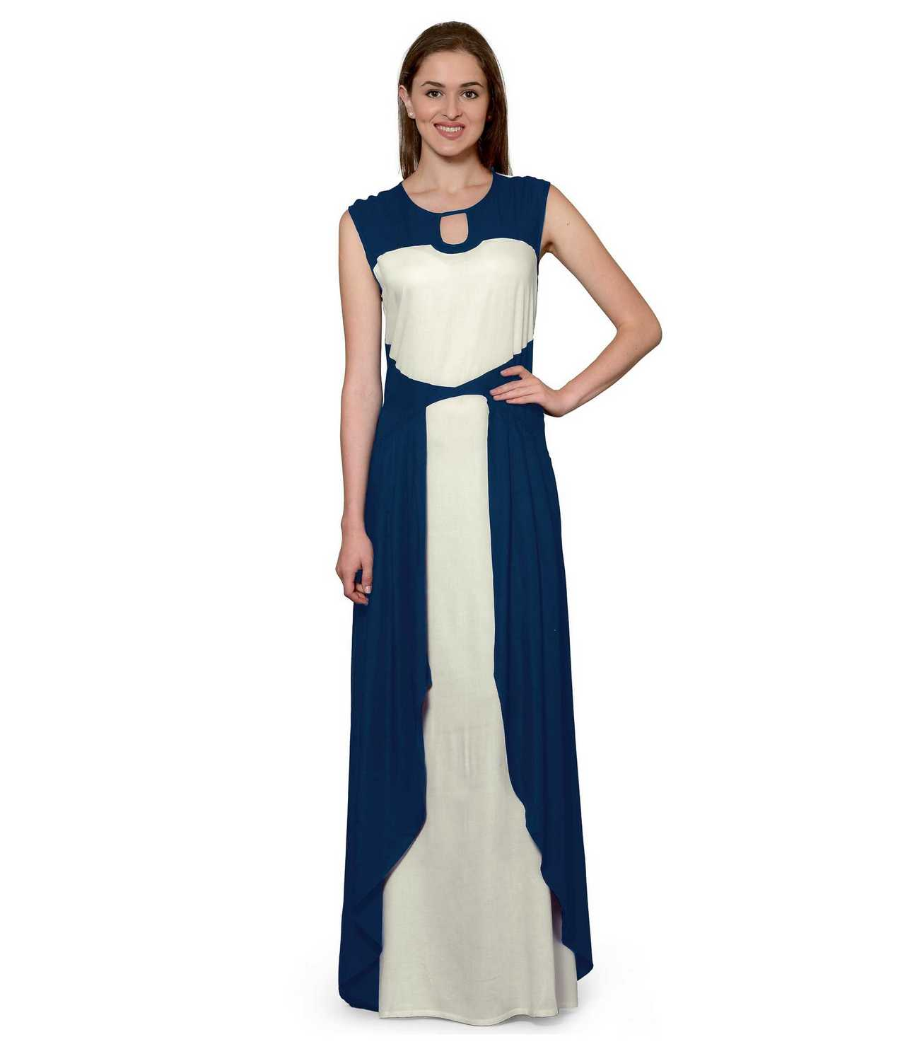 Color Block Maxi Dress or Gown  in Sky Blue:Off-White
