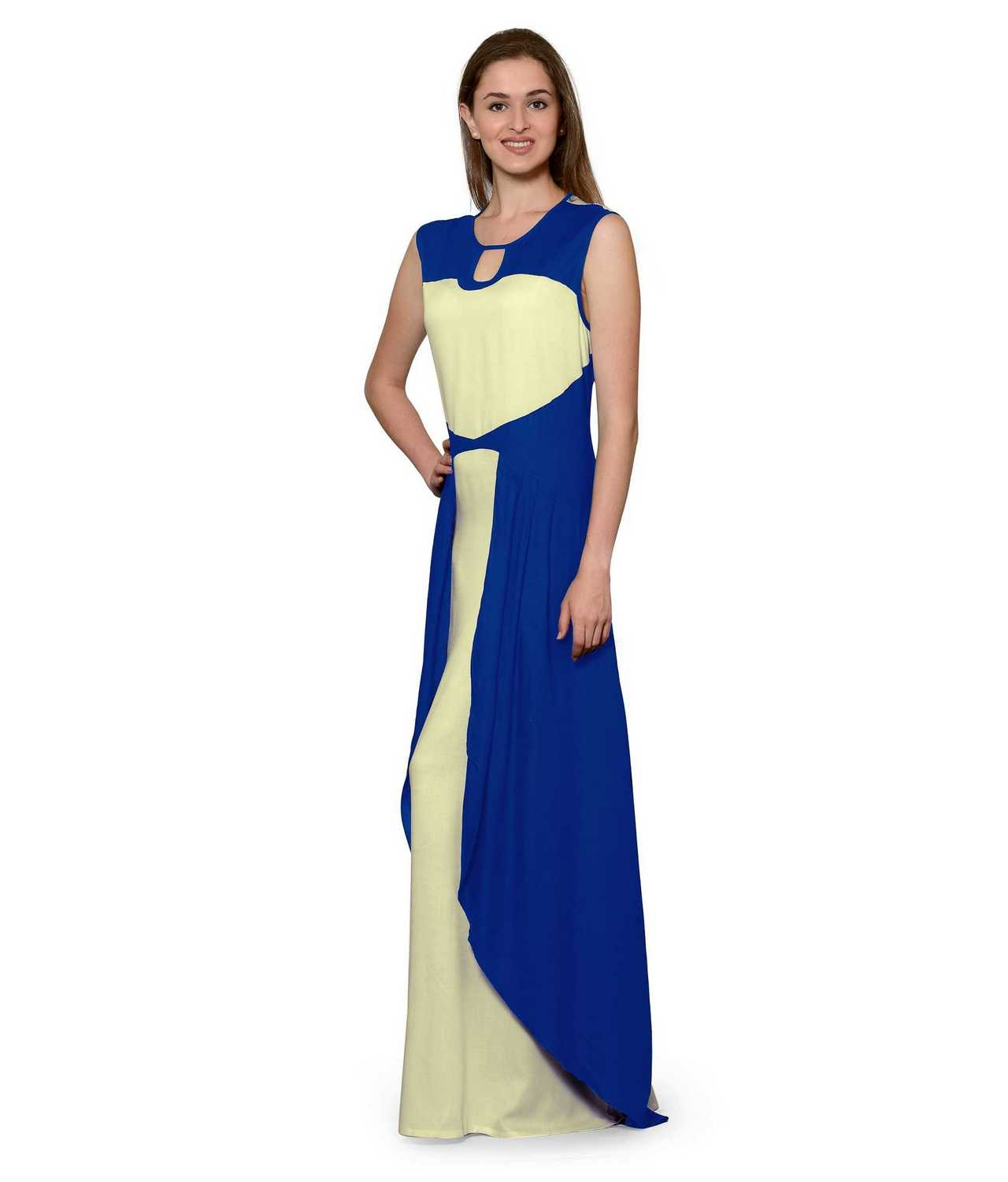 Color Block Maxi Dress or Gown  in Turquoise:Cream