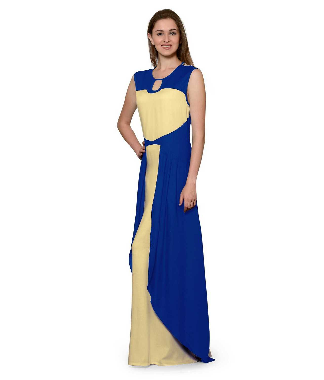 Color Block Maxi Dress or Gown  in Turquoise:Gold
