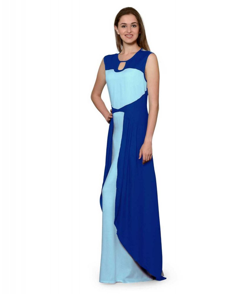 Color Block Maxi Dress or Gown  in Turquoise:Light Blue