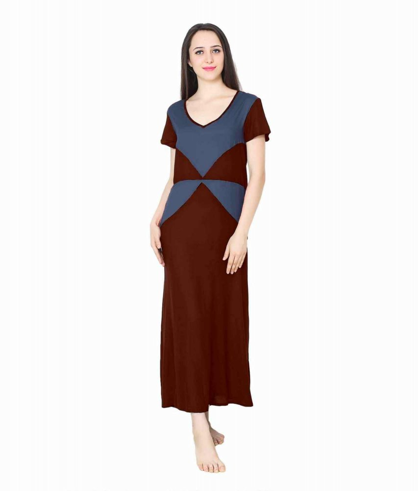 Color Block Maxi Night-Gown Nighty in Maroon: Charcoal Grey