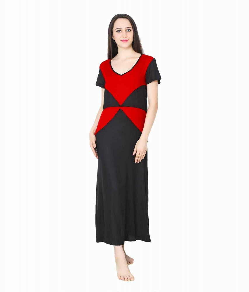 Color Block Maxi Night-Gown Nighty in Maroon: Red
