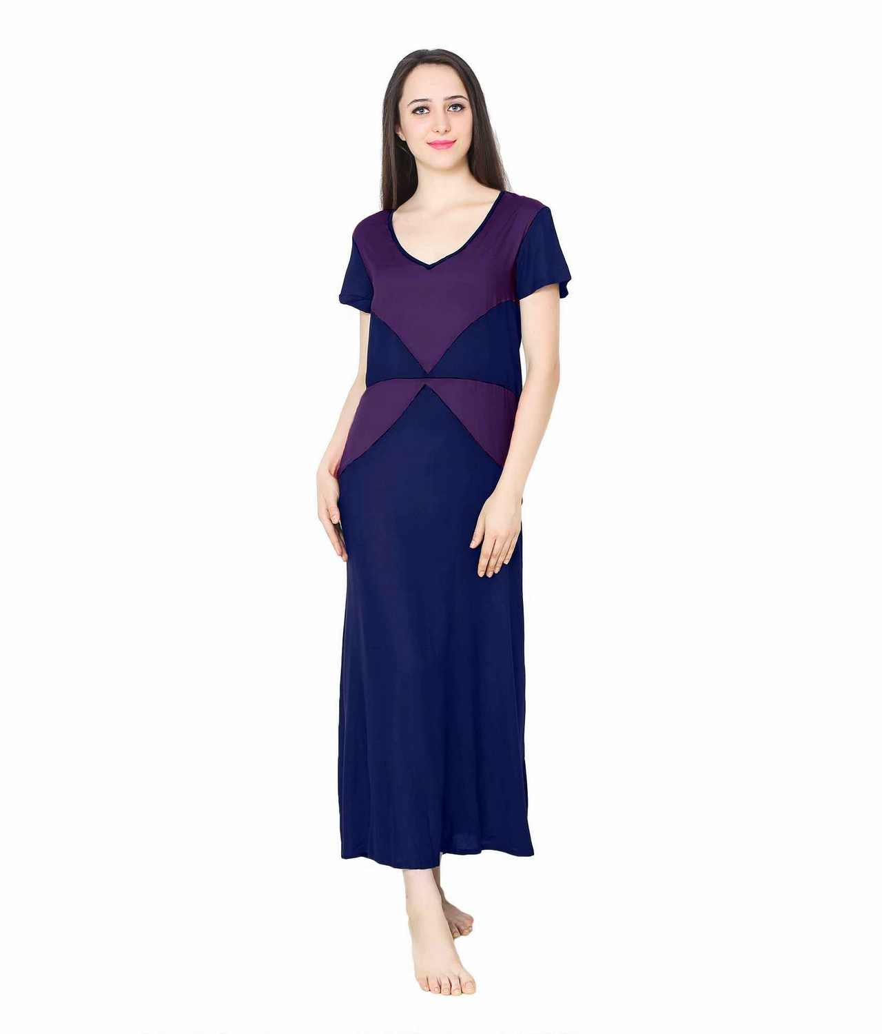 Color Block Maxi Night-Gown Nighty in Royal Blue: Purple