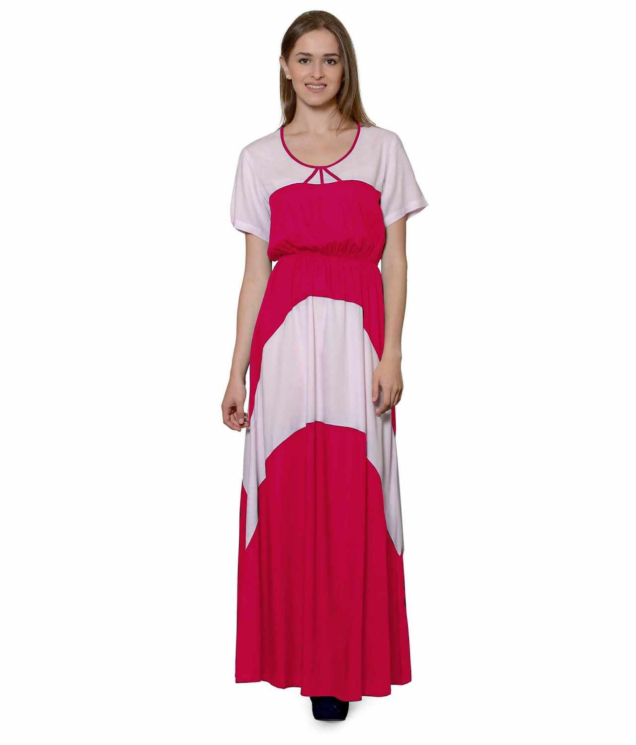 Color Block Slim Fit Maxi Dress Gown in Baby Pink:Fuchsia