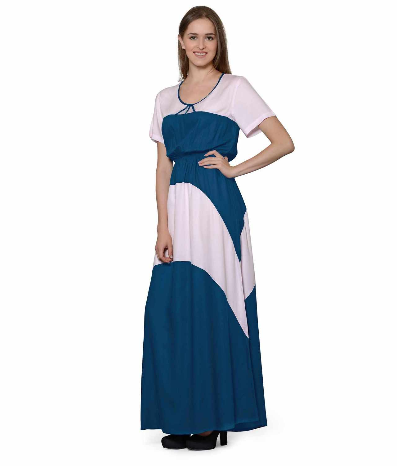 Color Block Slim Fit Maxi Dress Gown in Baby Pink:Sky Blue