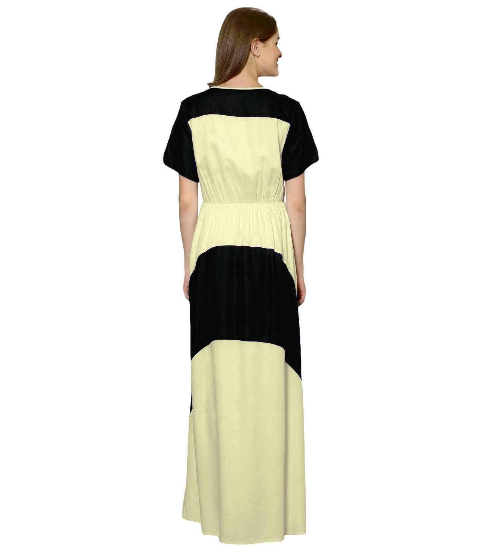 Color Block Slim Fit Maxi Dress Gown in Black:Cream