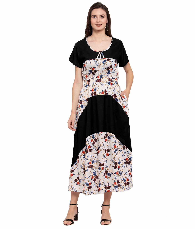 Color Block Slim Fit Maxi Dress Gown in Black:Cream Print