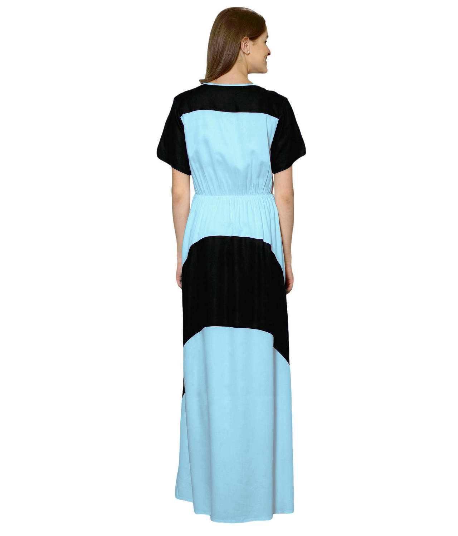 Color Block Slim Fit Maxi Dress Gown in Black:Light Blue