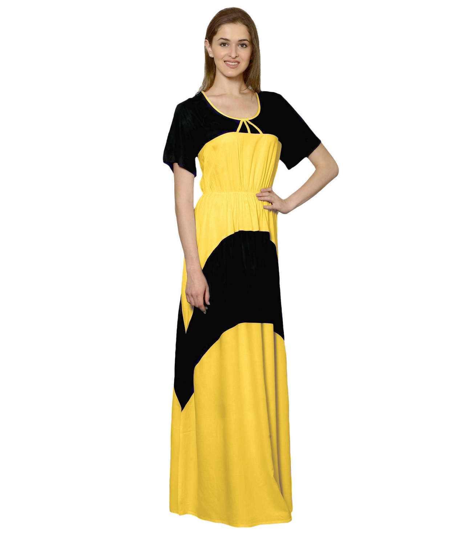Color Block Slim Fit Maxi Dress Gown in Black:Mustard