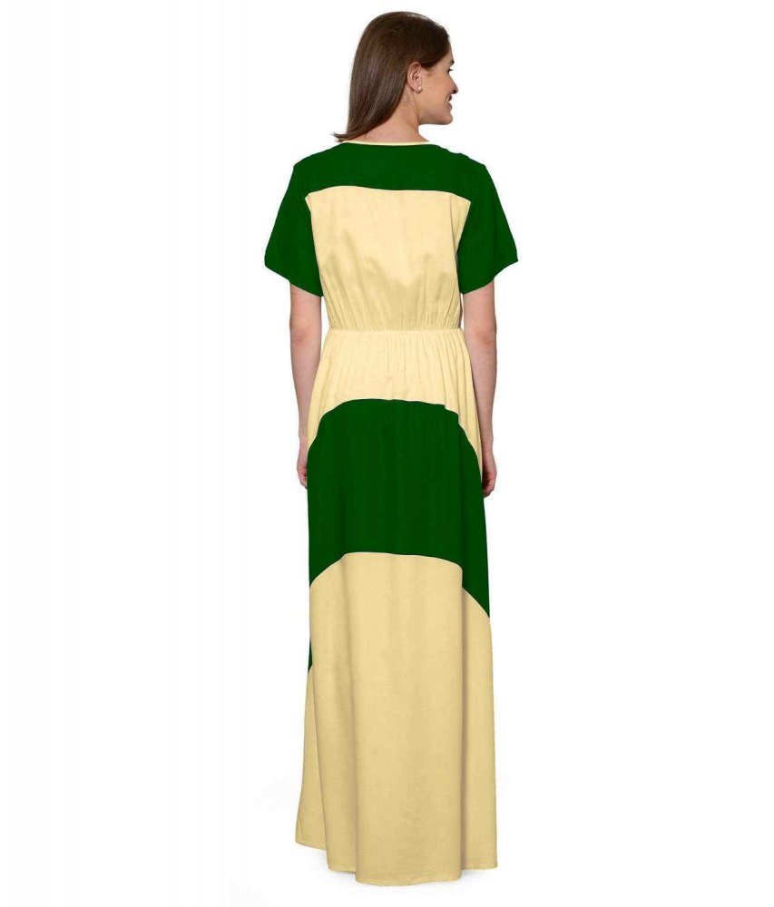 Color Block Slim Fit Maxi Dress Gown in Bottle Green:Gold