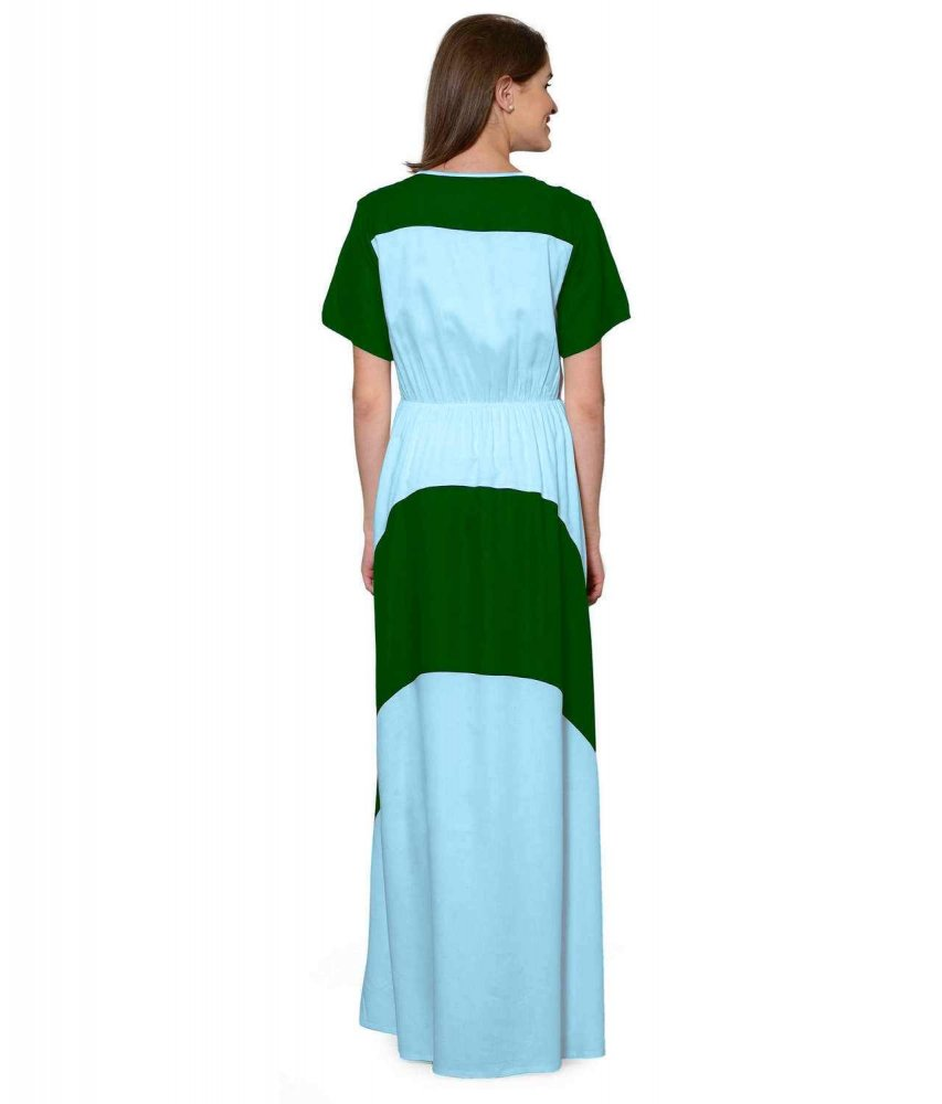 Color Block Slim Fit Maxi Dress Gown in Bottle Green:Light Blue