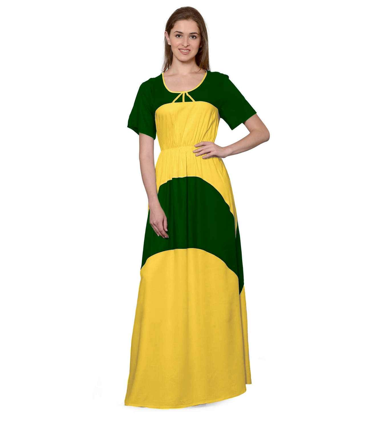Color Block Slim Fit Maxi Dress Gown in Bottle Green:Mustard