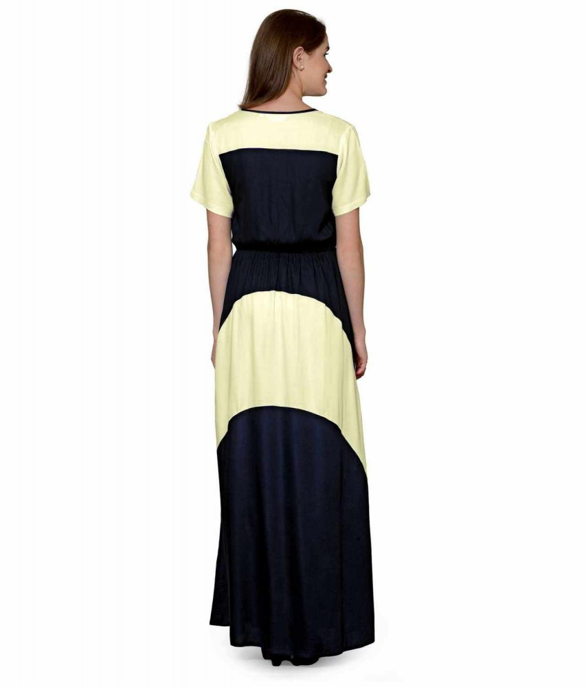 Color Block Slim Fit Maxi Dress Gown in Cream:Black
