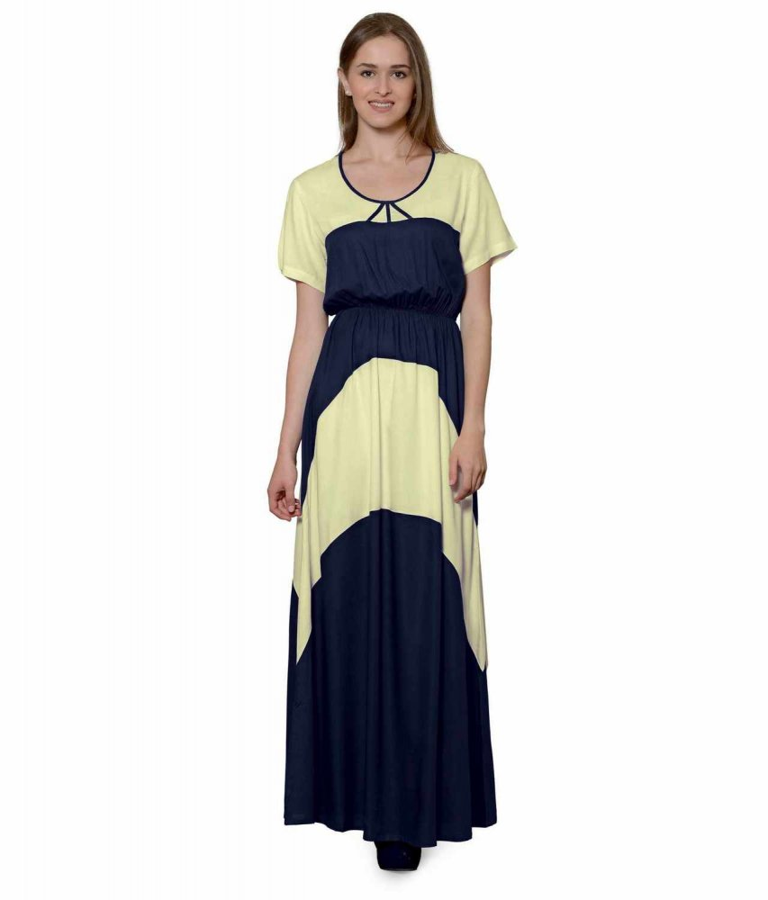 Color Block Slim Fit Maxi Dress Gown in Cream:Dark Blue