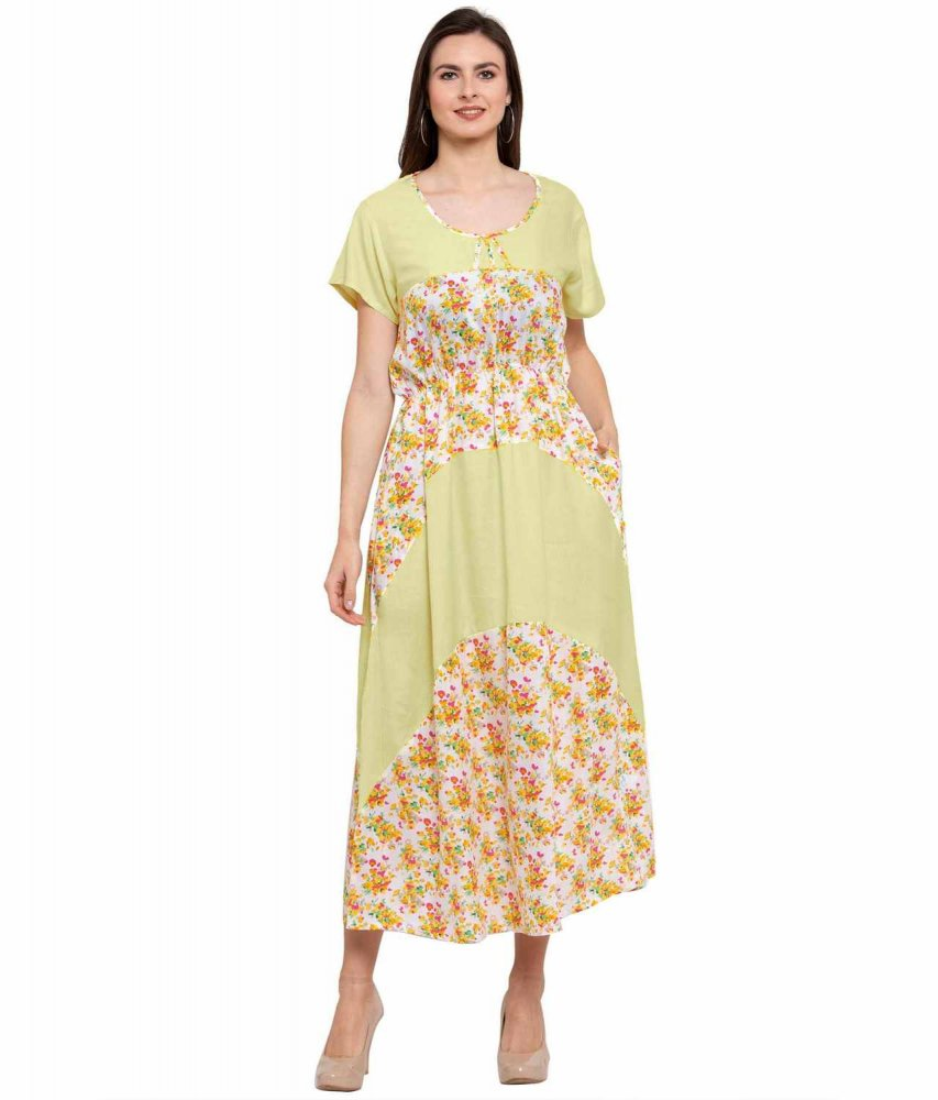 Color Block Slim Fit Maxi Dress Gown in Cream:Yellow Print