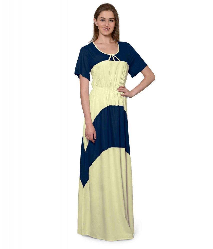 Color Block Slim Fit Maxi Dress Gown in Dark Blue:Cream
