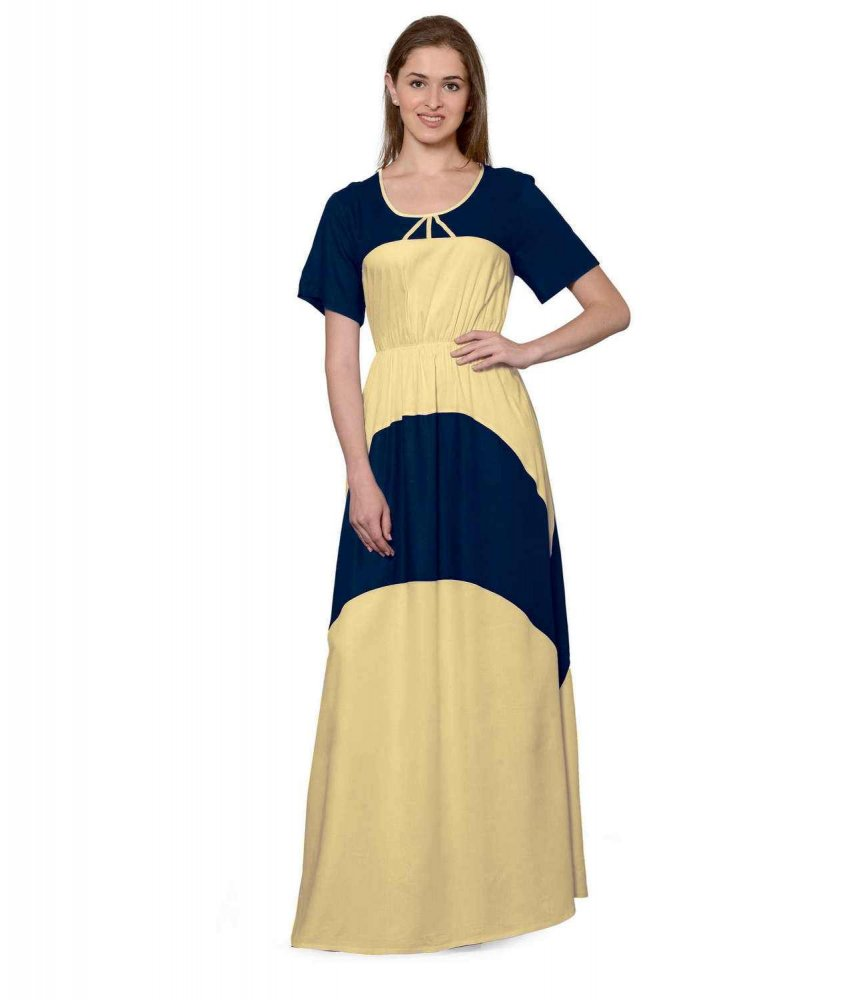 Color Block Slim Fit Maxi Dress Gown in Dark Blue:Gold