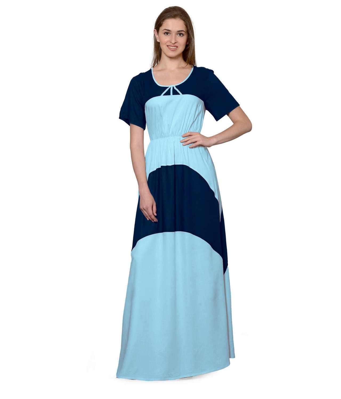 Color Block Slim Fit Maxi Dress Gown in Dark Blue:Light Blue