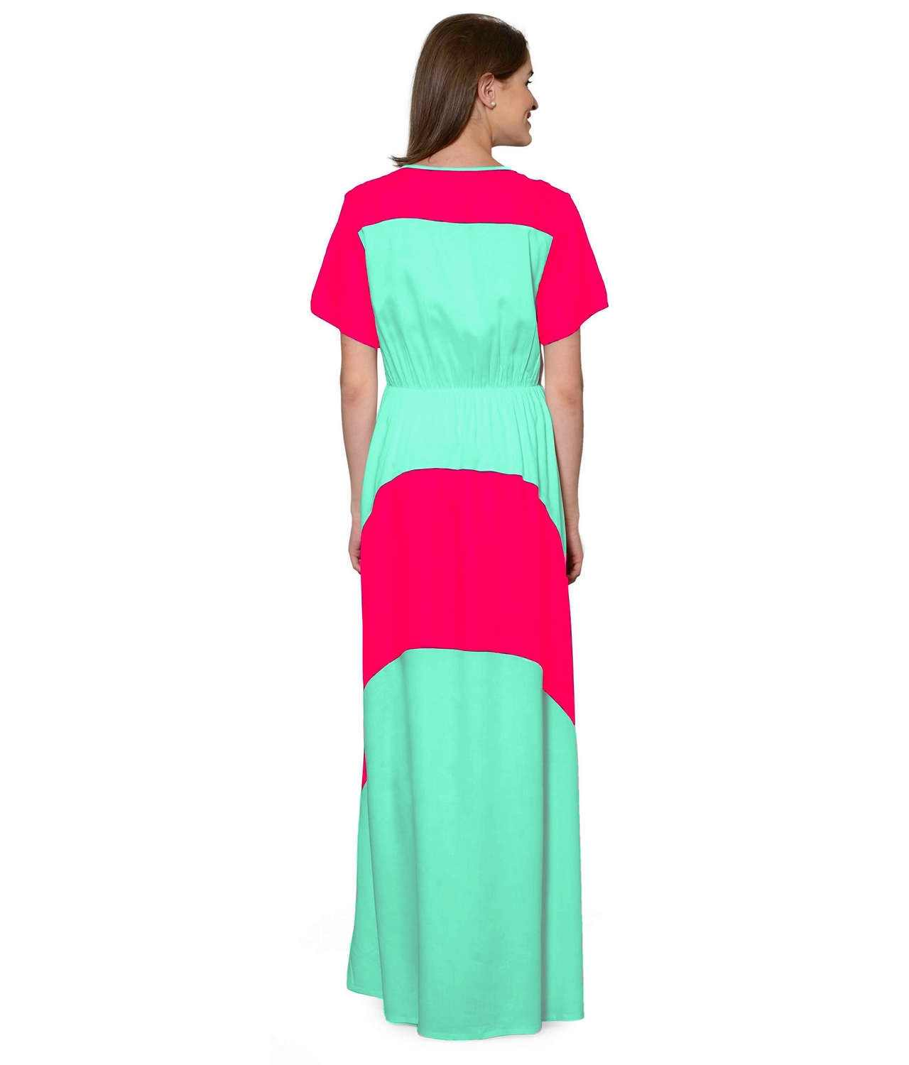 Color Block Slim Fit Maxi Dress Gown in Fuchsia:Teal Green