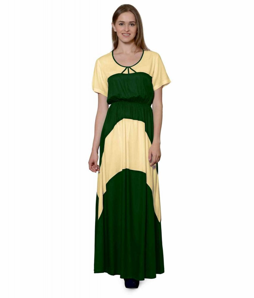 Color Block Slim Fit Maxi Dress Gown in Gold:Bottle Green