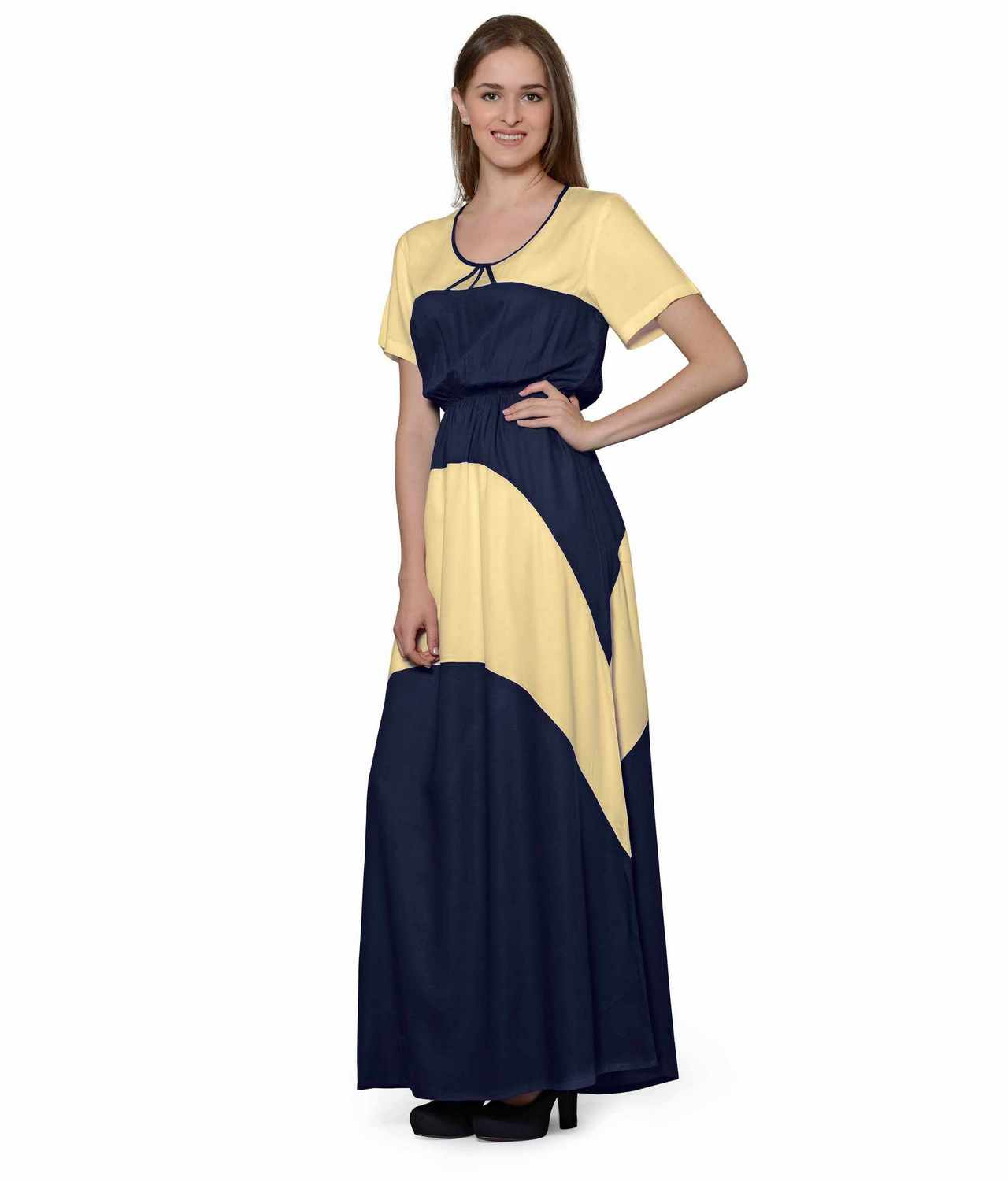 Color Block Slim Fit Maxi Dress Gown in Gold:Dark Blue