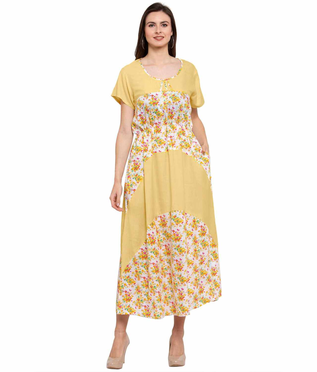 Color Block Slim Fit Maxi Dress Gown in Gold:Yellow Print