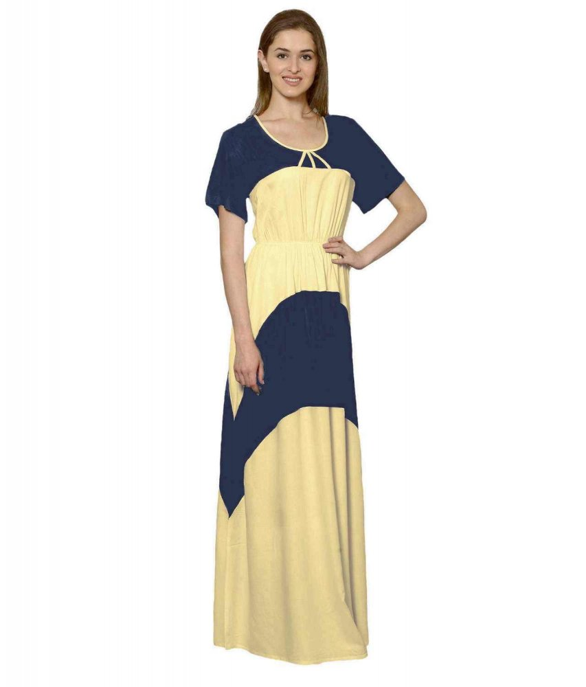 Color Block Slim Fit Maxi Dress Gown in Grey:Gold