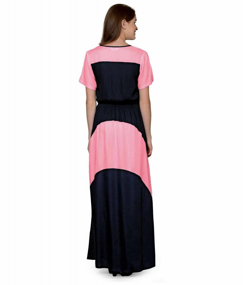 Color Block Slim Fit Maxi Dress Gown in Hot Pink:Black