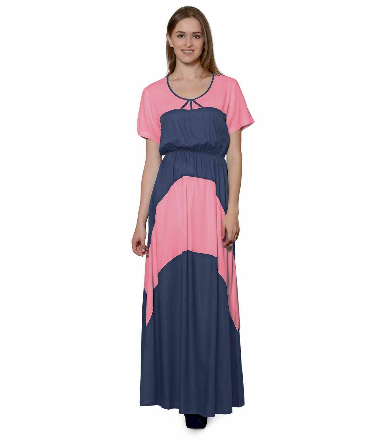 Color Block Slim Fit Maxi Dress Gown in Hot Pink:Grey