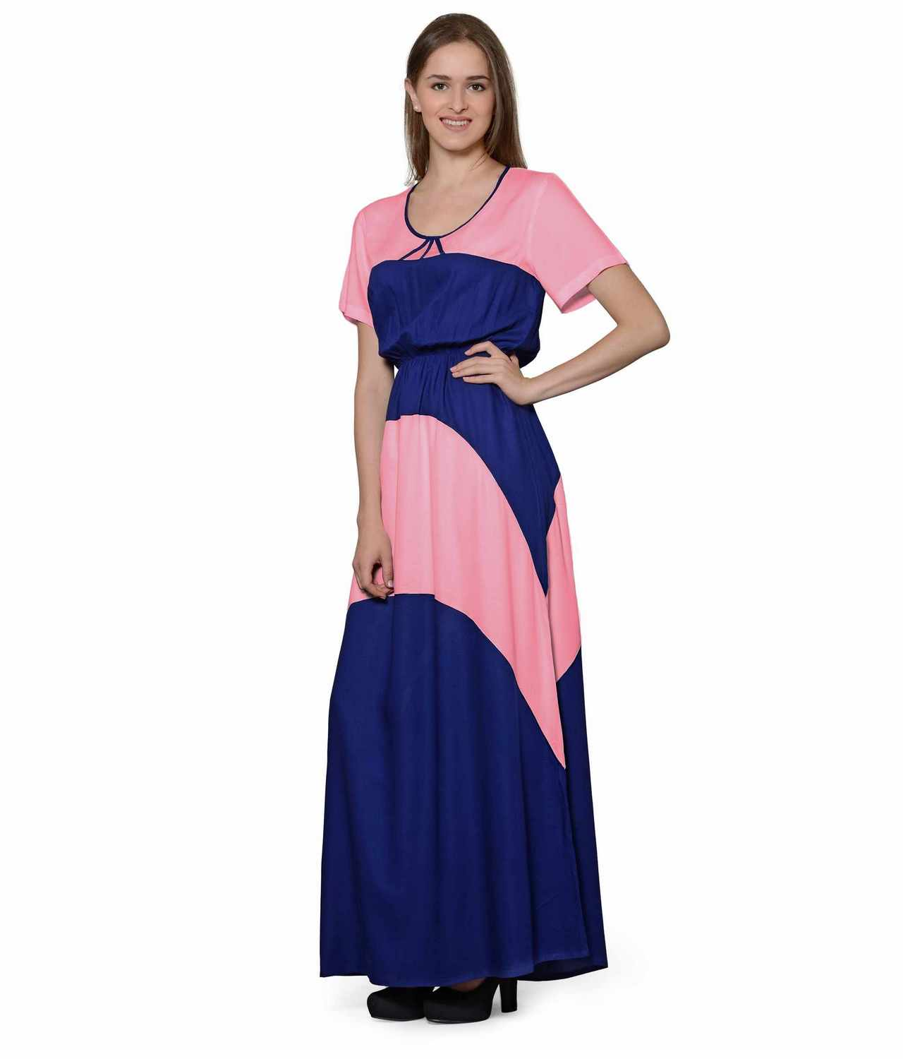 Color Block Slim Fit Maxi Dress Gown in Hot Pink:Royal Blue