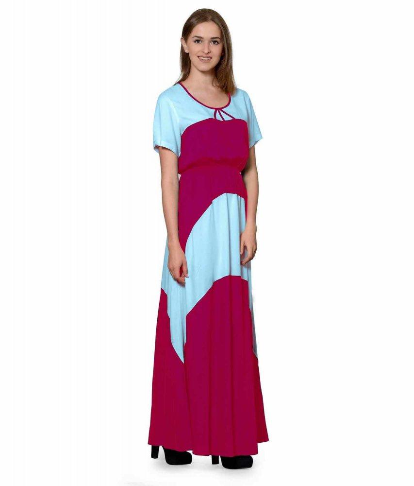Color Block Slim Fit Maxi Dress Gown in Light Blue:Fuchsia