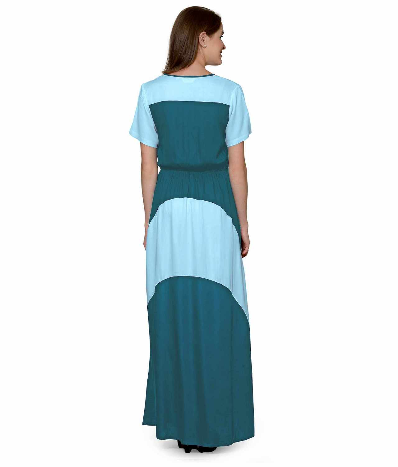 Color Block Slim Fit Maxi Dress Gown in Light Blue:Rama Green