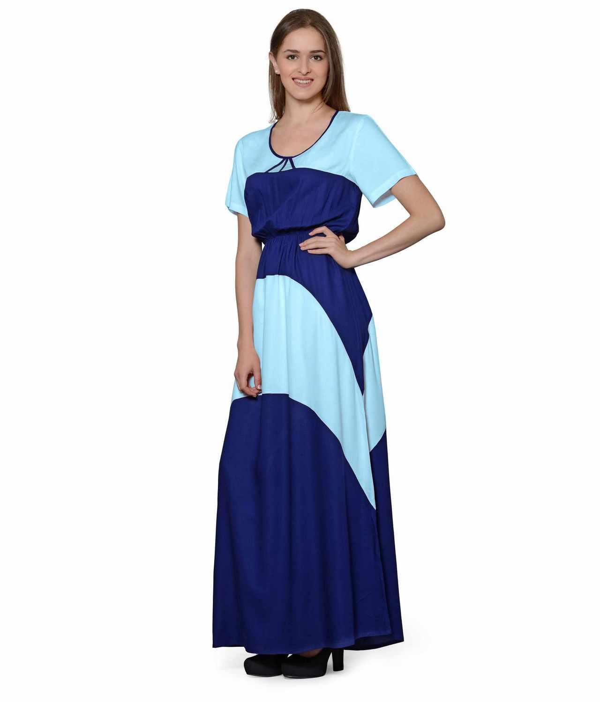 Color Block Slim Fit Maxi Dress Gown in Light Blue:Royal Blue