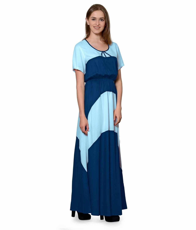 Color Block Slim Fit Maxi Dress Gown in Light Blue:Sky Blue
