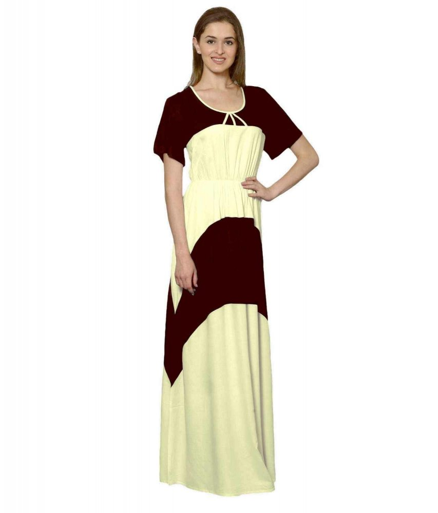 Color Block Slim Fit Maxi Dress Gown in Maroon:Cream
