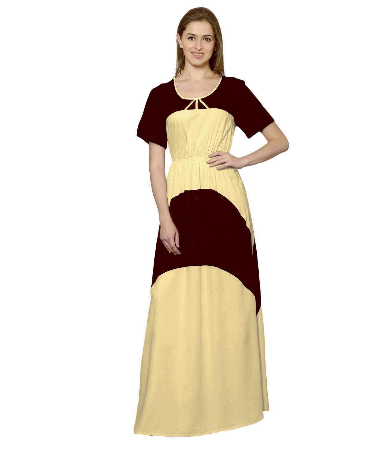 Color Block Slim Fit Maxi Dress Gown in Maroon:Gold
