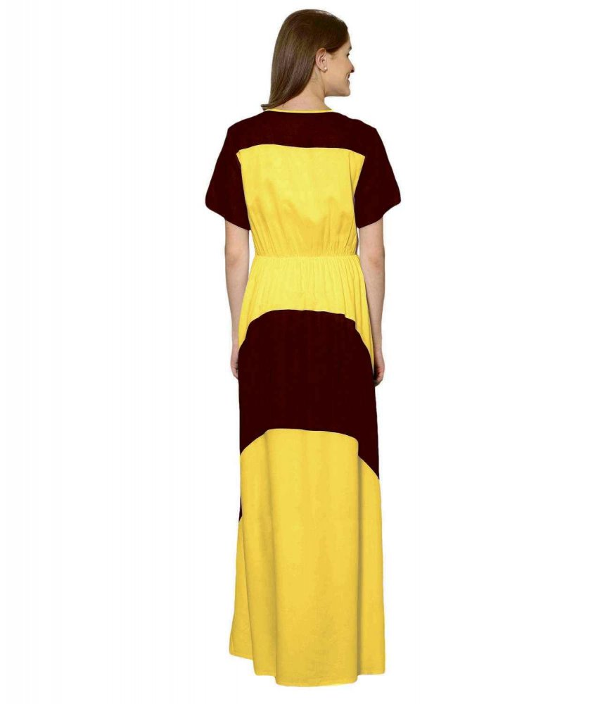Color Block Slim Fit Maxi Dress Gown in Maroon:Mustard