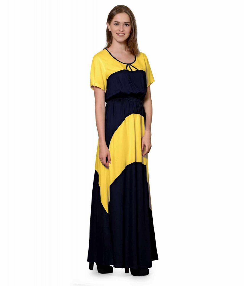 Color Block Slim Fit Maxi Dress Gown in Mustard:Black