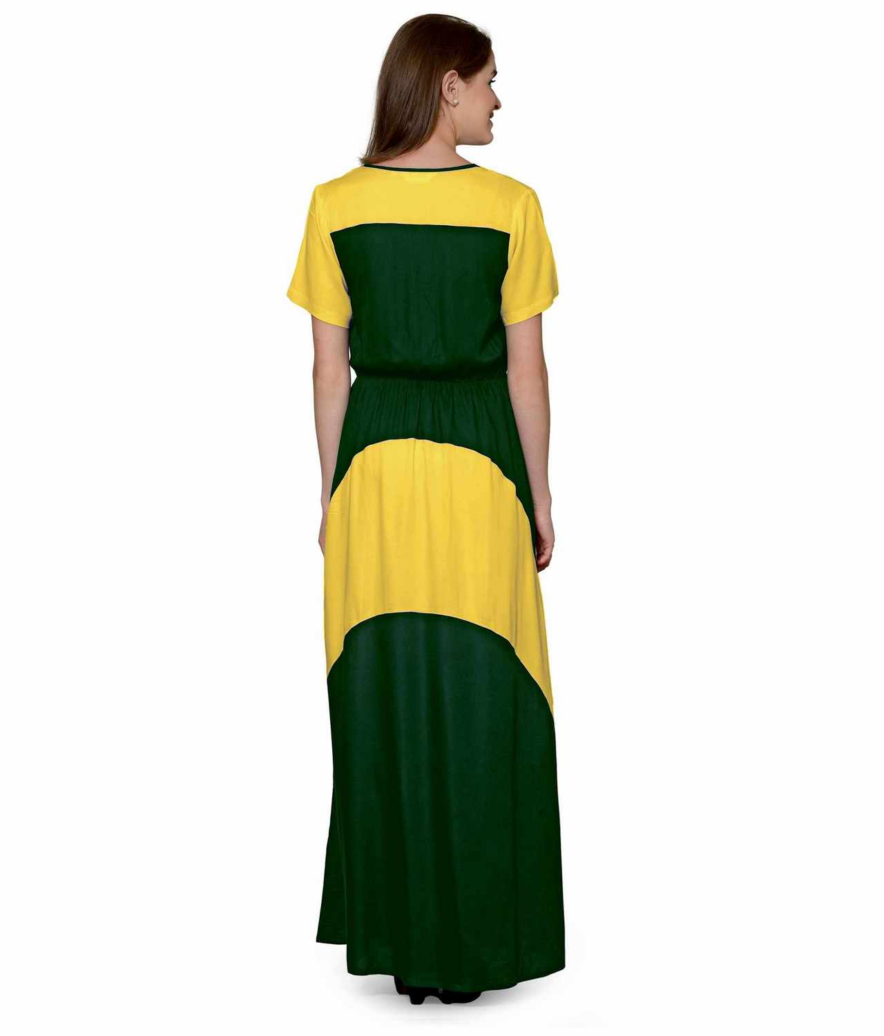 Color Block Slim Fit Maxi Dress Gown in Mustard:Bottle Green