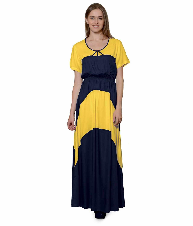 Color Block Slim Fit Maxi Dress Gown in Mustard:Dark Blue