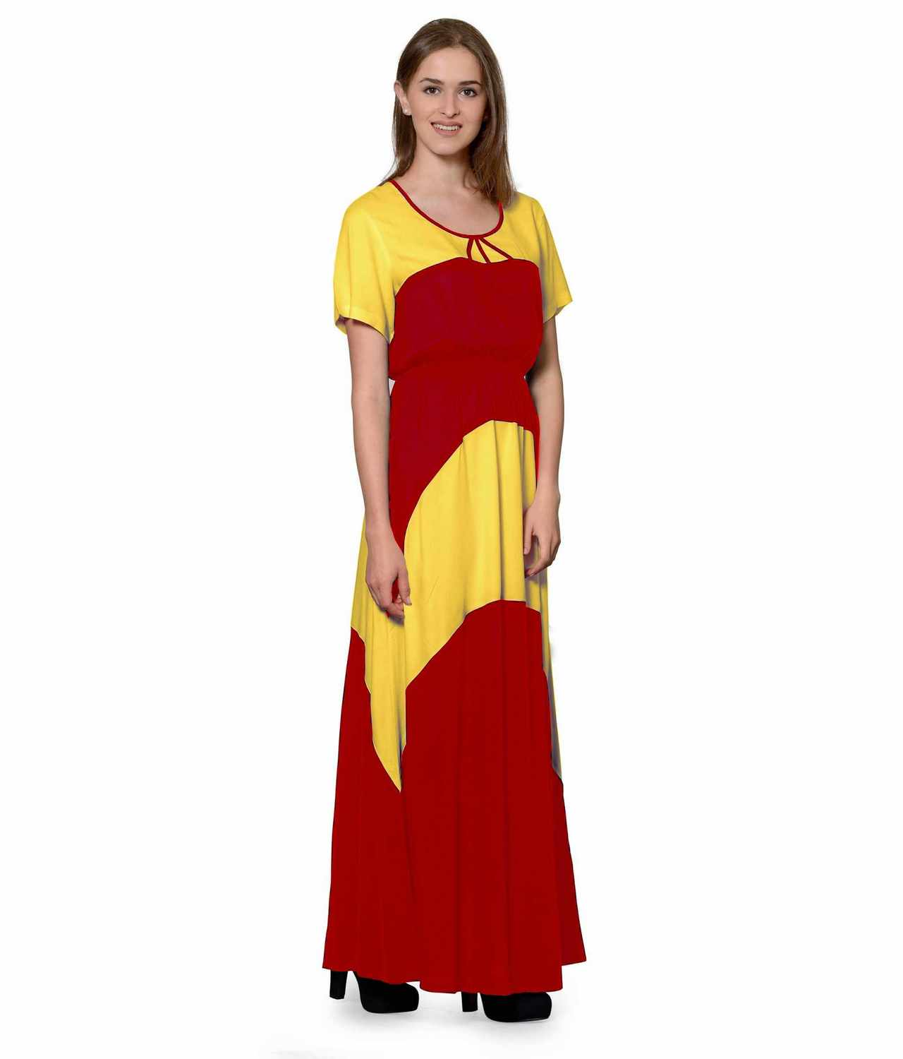 Color Block Slim Fit Maxi Dress Gown in Mustard:Red
