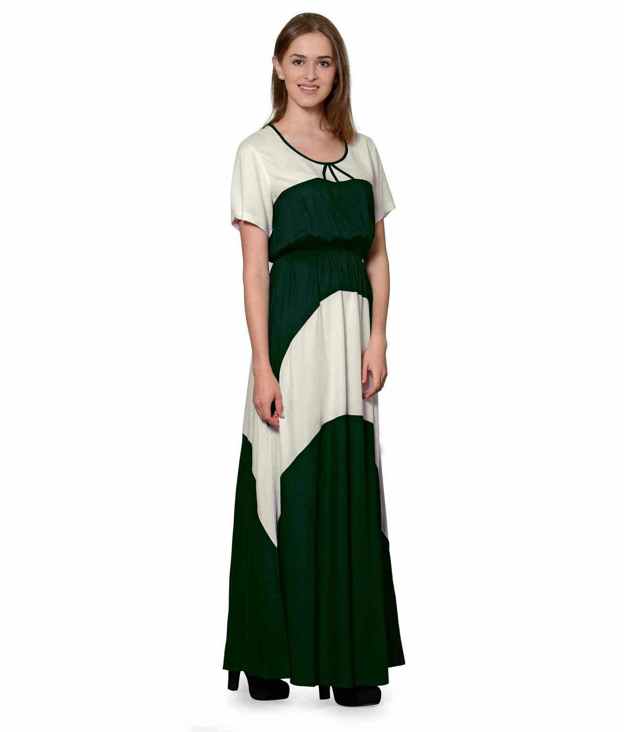Color Block Slim Fit Maxi Dress Gown in Off-White:Bottle Green