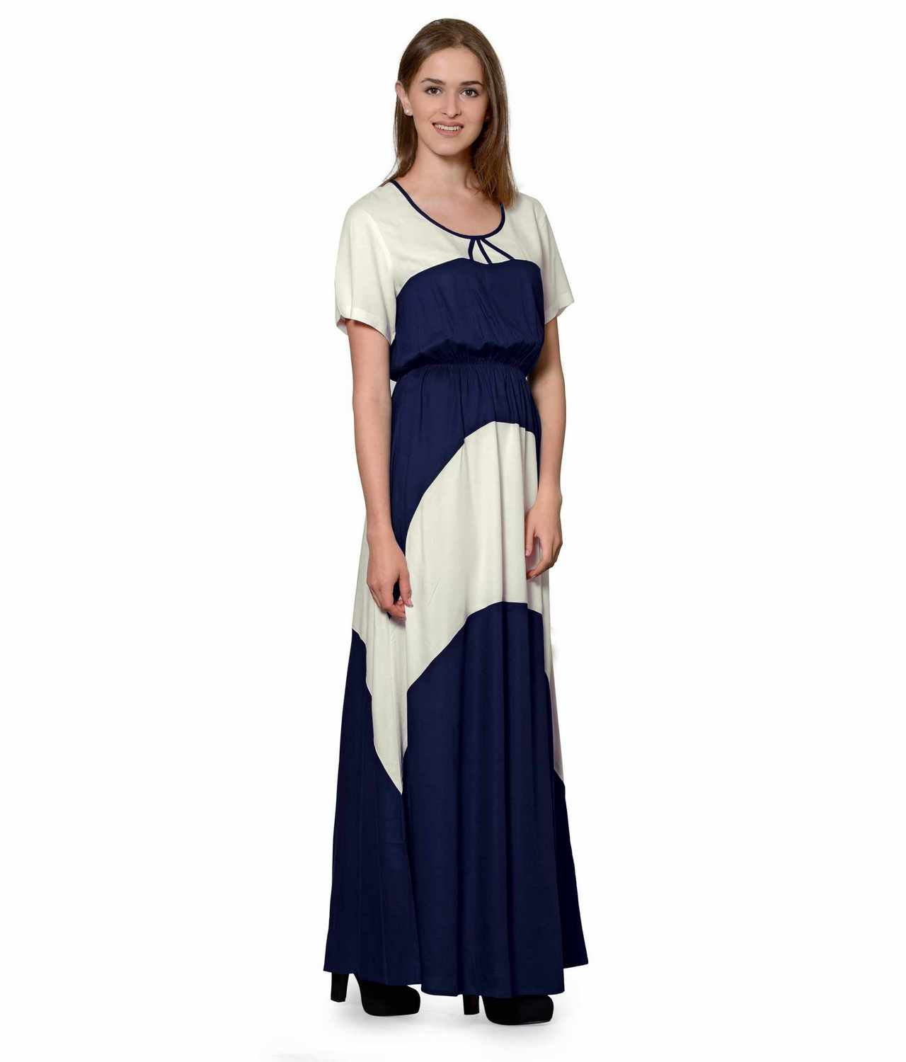 Color Block Slim Fit Maxi Dress Gown in Off-White:Dark Blue