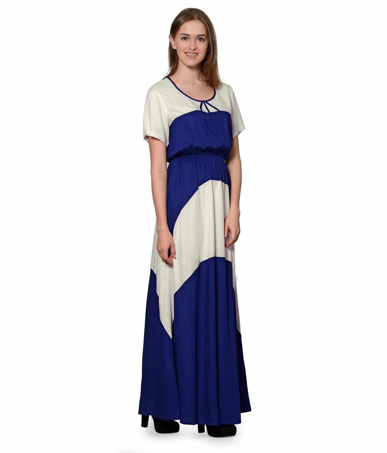 Color Block Slim Fit Maxi Dress Gown in Off-White:Royal Blue