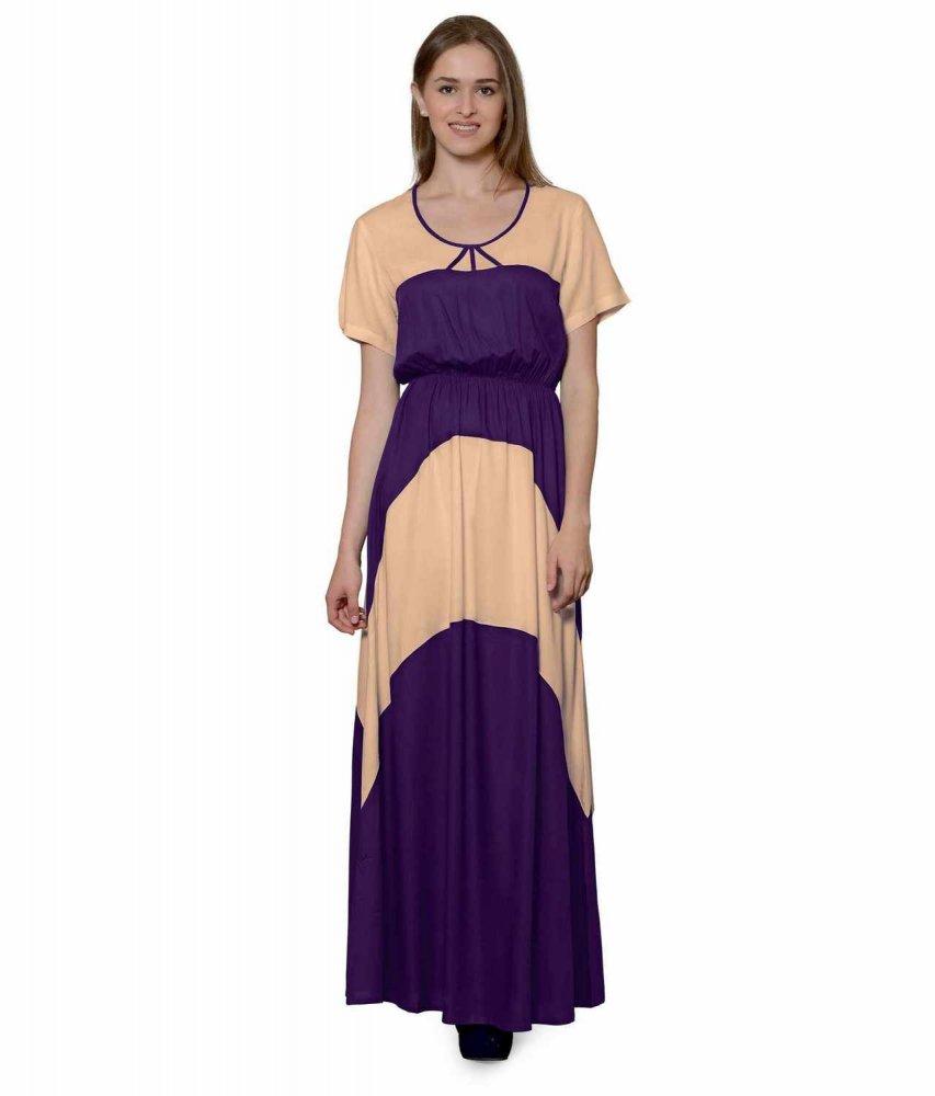 Color Block Slim Fit Maxi Dress Gown in Peach:Purple