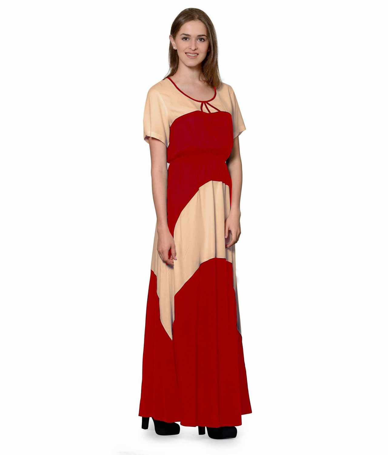 Color Block Slim Fit Maxi Dress Gown in Peach:Red