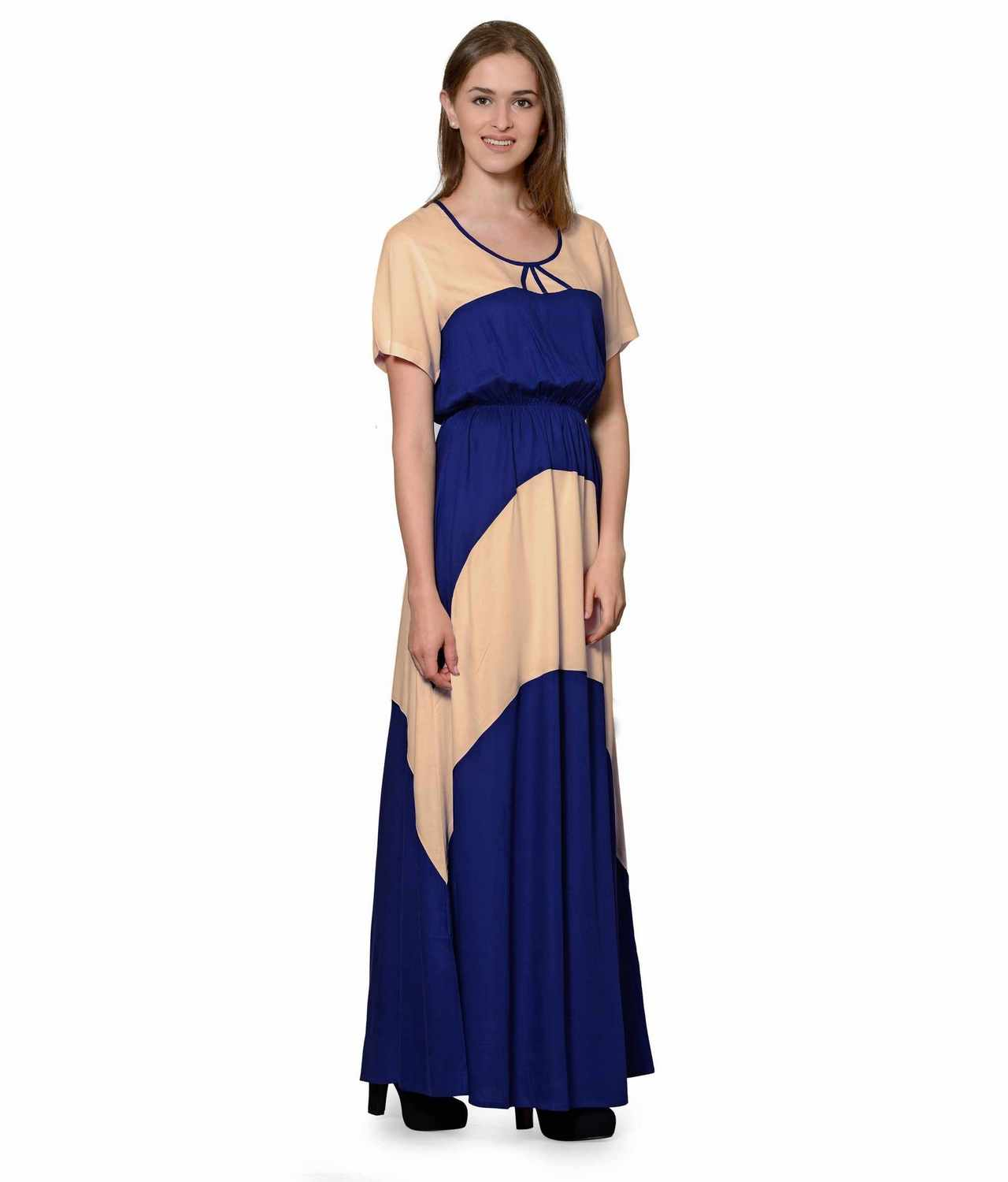 Color Block Slim Fit Maxi Dress Gown in Peach:Royal Blue